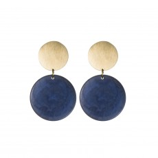 Fair Trade Tagua and Brass Double Disc Earrings