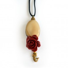 Hand Carved Organic Tagua Nut Rose Pendant