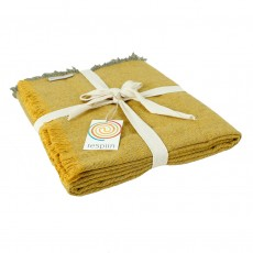 Wool Throw Made From Recycled Fibres - Saffron