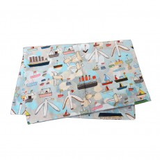 Cotton Tea Towel With Seaside Print