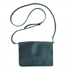 Leather clutch bag with detachable strap