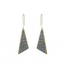 Fair Trade Tila Shard Brass and Enamel Drop Earrings