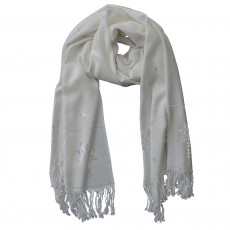 Hand Woven Viscose Shawl with Applied Metal Work Pattern - White