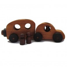 Traditionally Made Wooden Car & Caravan Toy