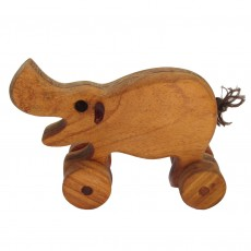 Traditionally Made Push Along Wooden Toy - Hippo