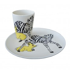 Eco-friendly Bamboo & Cornstarch Decorated Cup & Plate set-Zebra & Rabbit