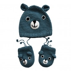 Hand Crocheted Bamboo & Cotton Teddy Bear Hat & Mittens Set (Babies)