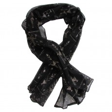 Handcrafted Black Shawl with Traditional Applied Metal Work Pattern