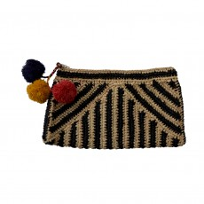 Fairtrade Pom Pom Raffia Clutch Bag