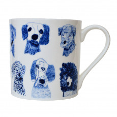 Fine Bone China Mug-Blue Dogs