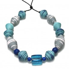 Handmade Recycled Paper Necklace-Blue