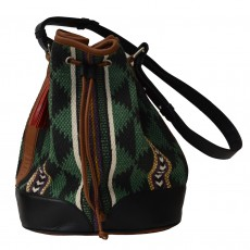 Hand Woven Cotton & Leather Dari Chowk Bucket Bag