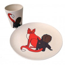 Eco-Friendly Bamboo & Cornstarch Decorated Cup And Plate Set-Cat & Squirrel