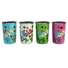 Fairtrade Hand-painted Stainless Steel Drinking Cups- Chicken-Set of 4