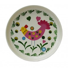 Fairtrade Hand Painted Stainless Steel Round Tray-Chicken