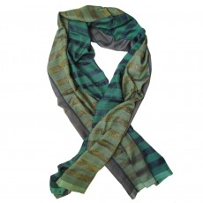 Luxury Silk Sequin Hand Woven Long Scarf - Pea Stripe