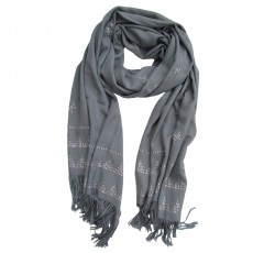 Hand Woven Viscose Shawl with Applied Metal Work Pattern - Grey