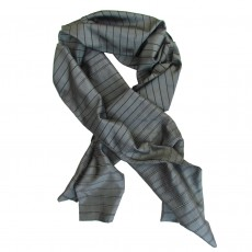 Fairtrade Grey Stripe Long Crisp Silk Scarf