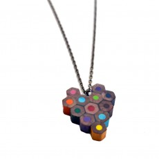 Upcycled Derwent Pencil Heart Necklace with Chain