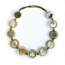FairTrade Natural Horn Circle Disk Necklace