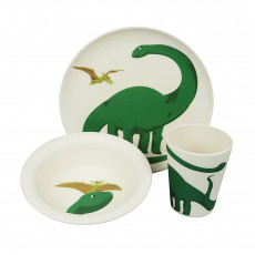 Eco-Friendly Bamboo & Cornstarch Bowl, Plate and Cup Set- Hungry Dino