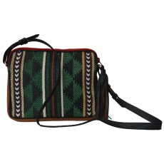 Hand Woven Cotton & Leather Dari Chowk Pouch Bag