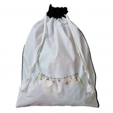 Drawstring Egyptian Cotton Laundry Bag With Hand Embroidered Decoration