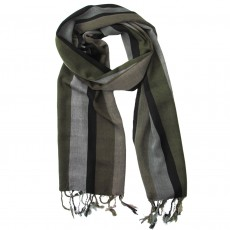 Men's Hand Woven Viscose Long Scarf- Olive Stripe