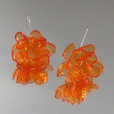 Upcycled PET Plastic Drop Flower Earrings