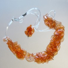 Upcycled PET Plastic Orange Flower Necklace