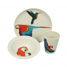 Eco-Friendly Bamboo & Cornstarch Bowl, Plate and Cup Set-Parrot & Humming Bird