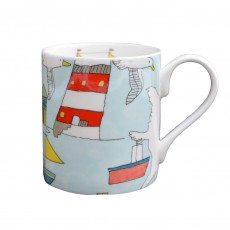 Fine Bone China Mug With Seaside Decoration