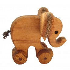 Traditionally Made Push Along Wooden Toy - Elephant