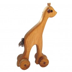 Traditionally Made Push Along Wooden Toy - Giraffe