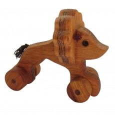 Traditionally Made Push Along Wooden Toy - Lion