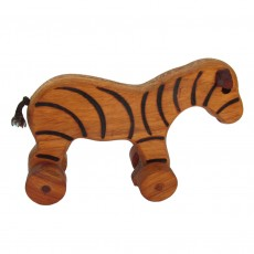 Traditionally Made Push Along Wooden Toy - Zebra