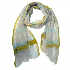 Fine Cotton Hand Woven Long Zigzag Scarf