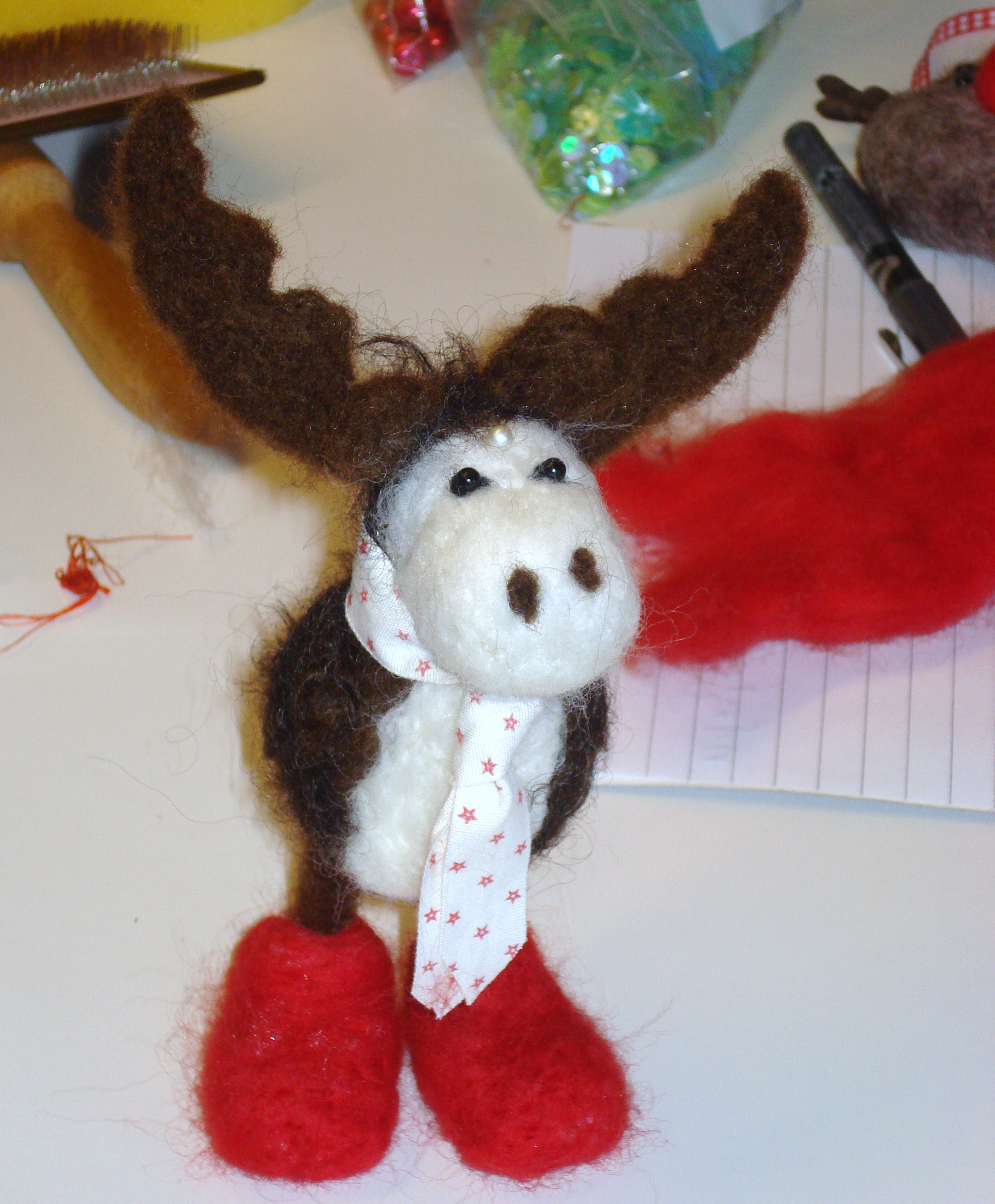 ''There's A Moose On THe Loose''-Needle Felting Christmas Decorations