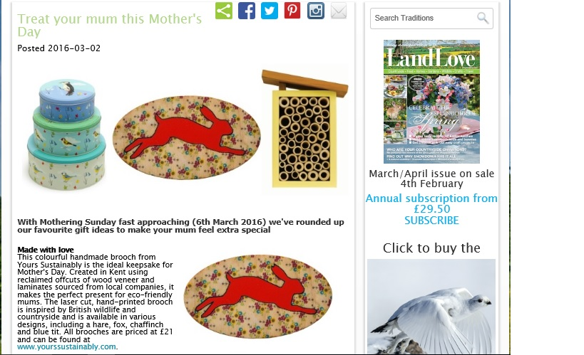 Press - LandLove Magazine Online Mother's Day Gift Guide